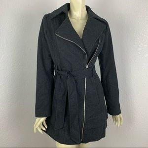 Guess Gray Wool Moto Trench Coat